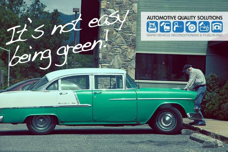"An image of a green 1955 Chevrolet Belair with signs of rust and decay and the words, ""It's not easy being green""."