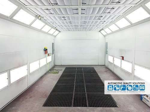 The enclosed spray booth at AQS - used for dust free installation of Opti-Coat PRO paint protection