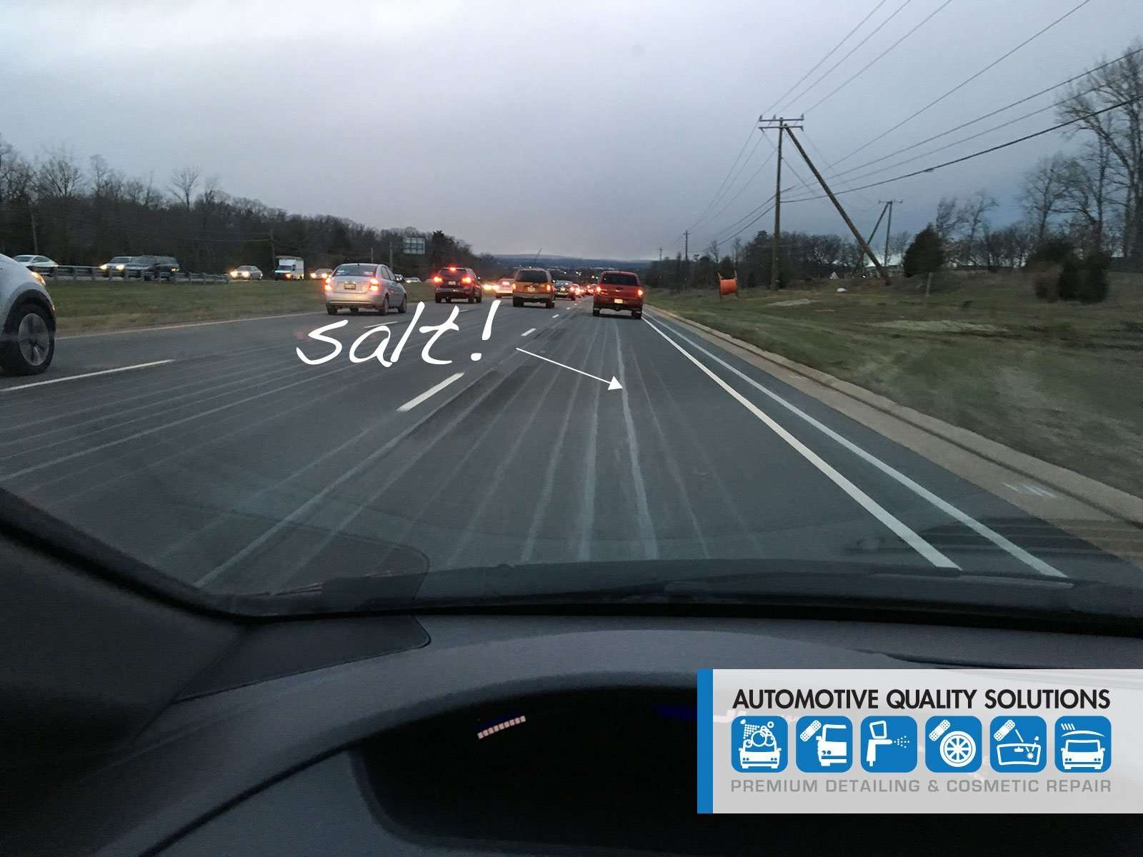 Road chemicals used to pretreat for winter weather are damaging to automobile finishes.