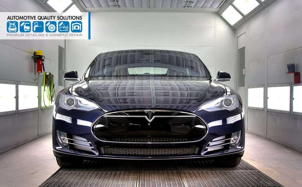 A Blue Tesla Model S Detailed and Opti-Coat treated by AQS and D&D Auto Detailing