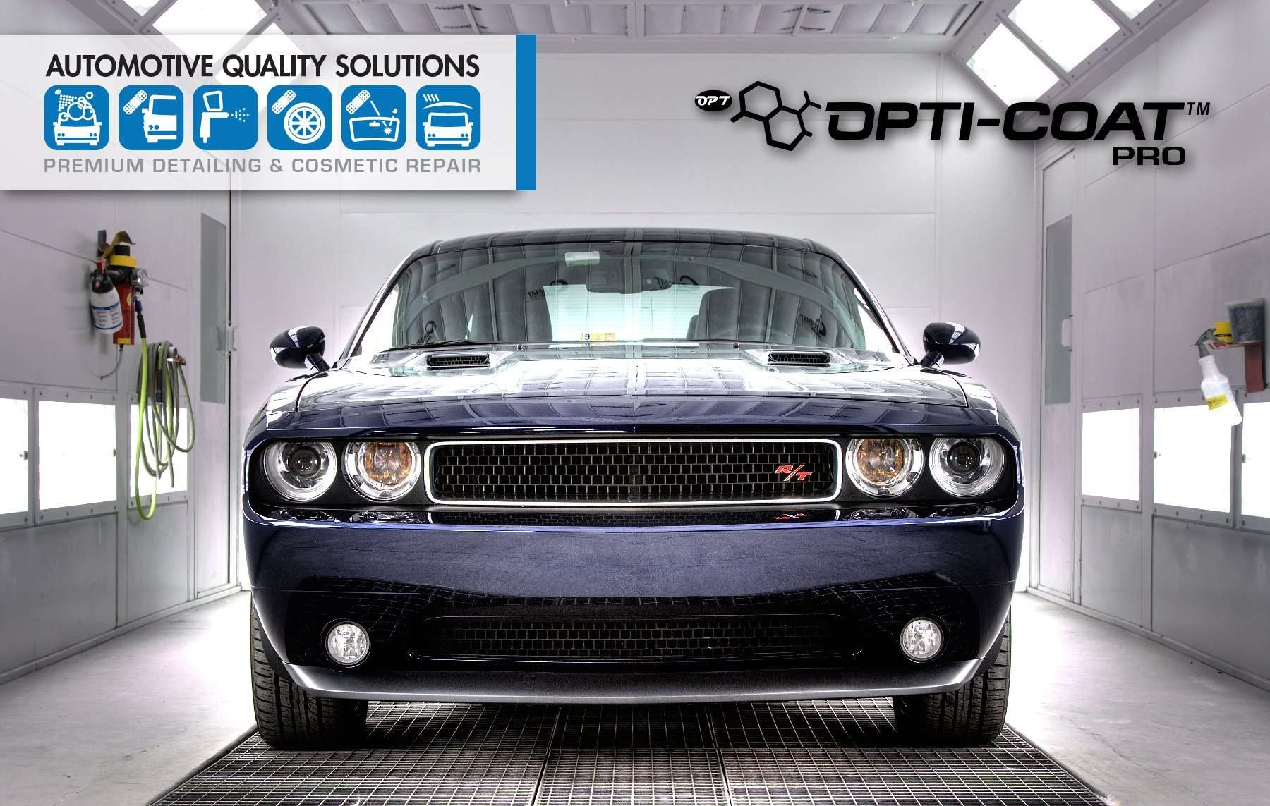 A Dodge Challenger in the AQS Opti-Coat PRO installation booth